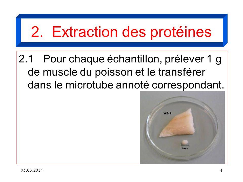 05.03.20144 2. Extraction des protéines 2.1Pour chaque échantillon, prélever 1 g de muscle du poisson et le transférer dans le microtube annoté corres