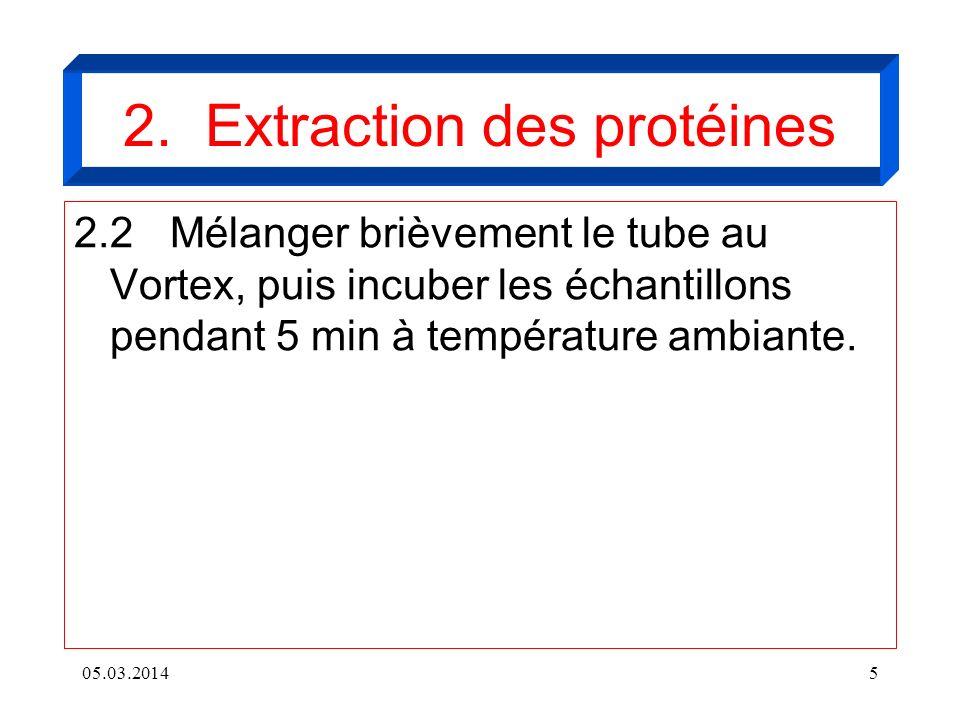 05.03.20145 2.2Mélanger brièvement le tube au Vortex, puis incuber les échantillons pendant 5 min à température ambiante. 2. Extraction des protéines