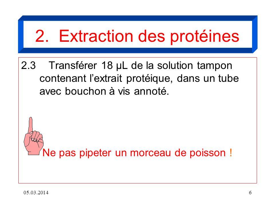 05.03.20146 2. Extraction des protéines 2.3Transférer 18 µL de la solution tampon contenant lextrait protéique, dans un tube avec bouchon à vis annoté