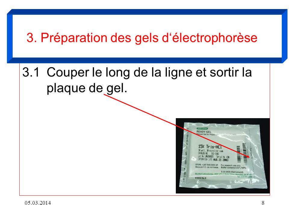 3.1Couper le long de la ligne et sortir la plaque de gel. 05.03.20148 3. Préparation des gels délectrophorèse