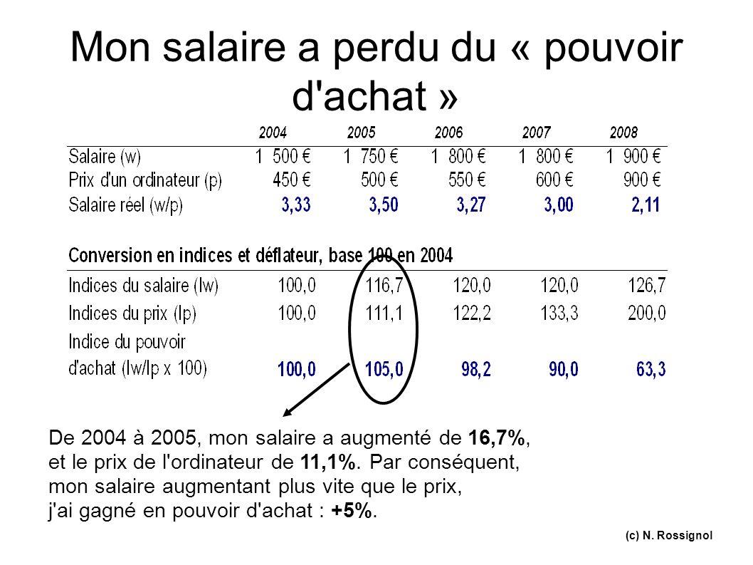 (c) N. Rossignol Mon salaire a perdu du « pouvoir d'achat » De 2004 à 2005, mon salaire a augmenté de 16,7%, et le prix de l'ordinateur de 11,1%. Par