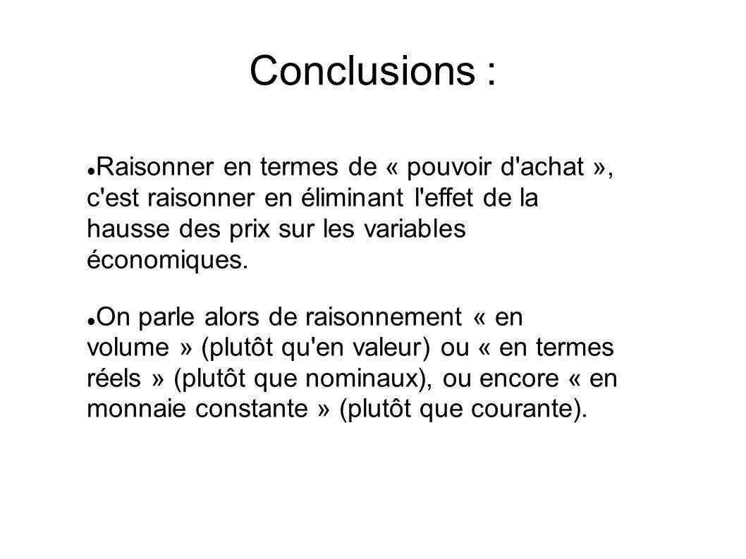Conclusions : Raisonner en termes de « pouvoir d achat », c est raisonner en éliminant l effet de la hausse des prix sur les variables économiques.