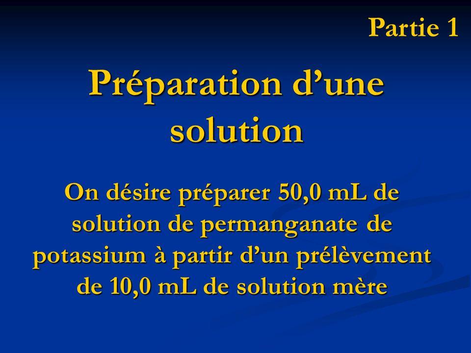 On désire préparer 50,0 mL de solution de permanganate de potassium à partir dun prélèvement de 10,0 mL de solution mère Préparation dune solution Par