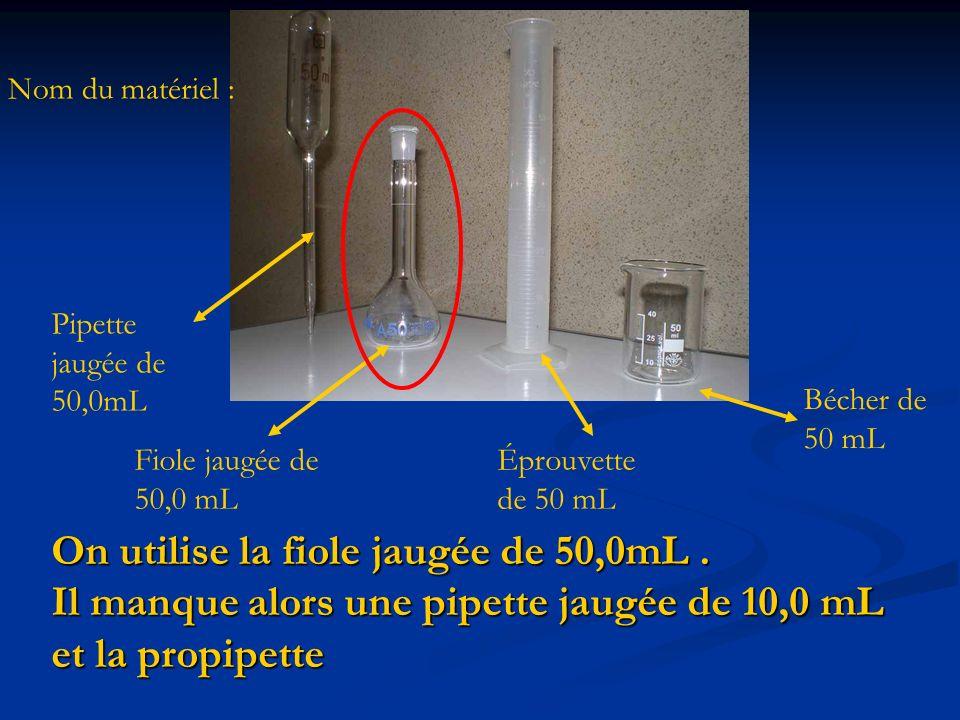 On utilise la fiole jaugée de 50,0mL. Il manque alors une pipette jaugée de 10,0 mL et la propipette Pipette jaugée de 50,0mL Éprouvette de 50 mL Béch