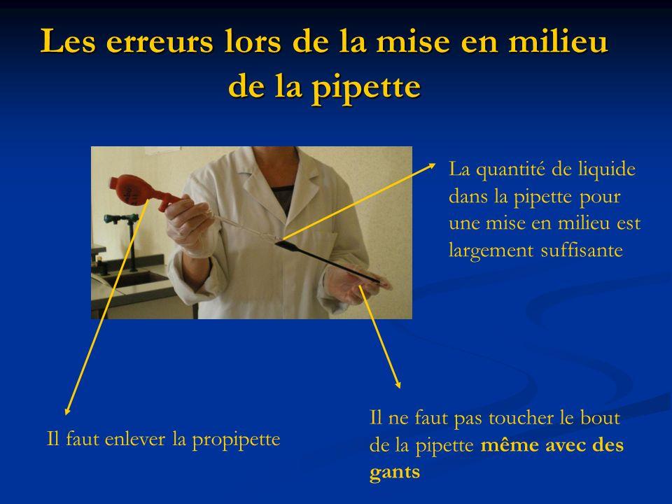 Les erreurs lors de la mise en milieu de la pipette Il faut enlever la propipette Il ne faut pas toucher le bout de la pipette même avec des gants La