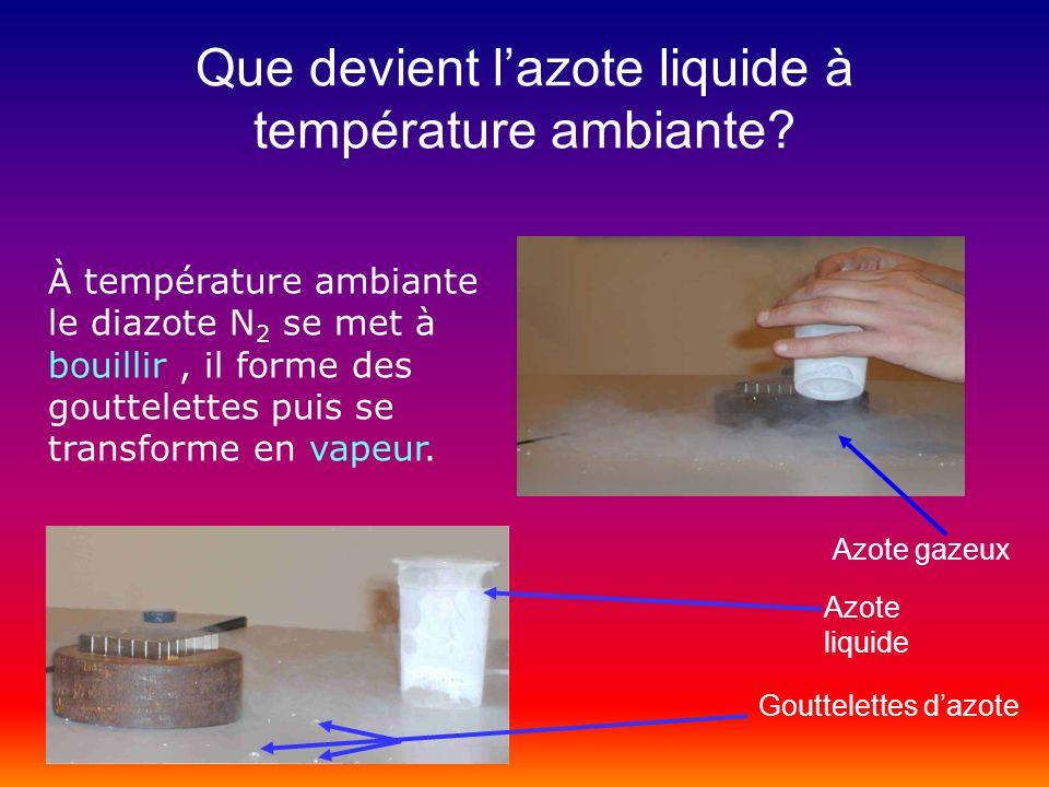 Que devient lazote liquide à température ambiante? À température ambiante le diazote N 2 se met à bouillir, il forme des gouttelettes puis se transfor