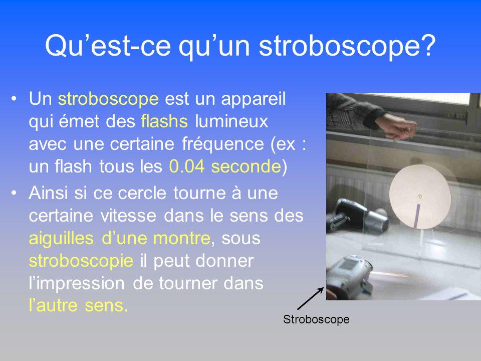 Quest-ce quun stroboscope? Un stroboscope est un appareil qui émet des flashs lumineux avec une certaine fréquence (ex : un flash tous les 0.04 second