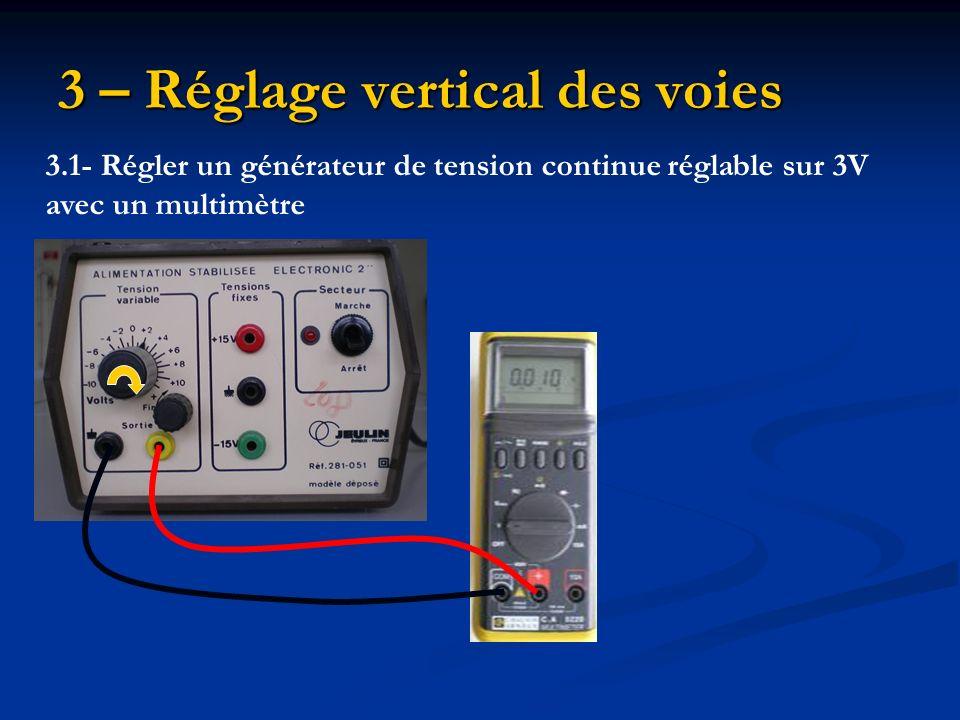 3 – Réglage vertical des voies 3.2- Remplacer le voltmètre par un oscilloscope pour visualiser la tension u PN P N 3.3- Régler le calibre sur 1 V/div3.4- Inverser les bornes Appuyer sur le bouton DC (direct current)