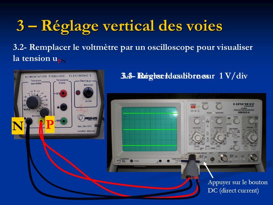 3 – Réglage vertical des voies 3.2- Remplacer le voltmètre par un oscilloscope pour visualiser la tension u PN P N 3.3- Régler le calibre sur 1 V/div3