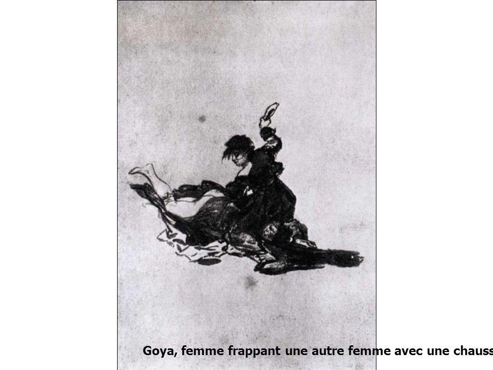 Goya, femme frappant une autre femme avec une chaussure, 1815
