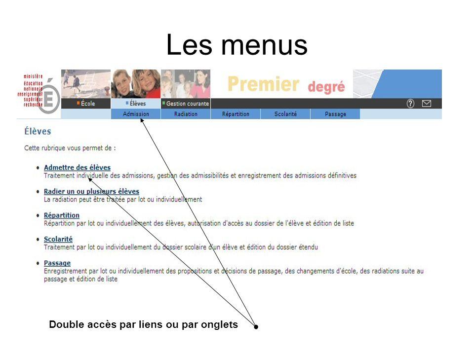 Les menus Double accès par liens ou par onglets