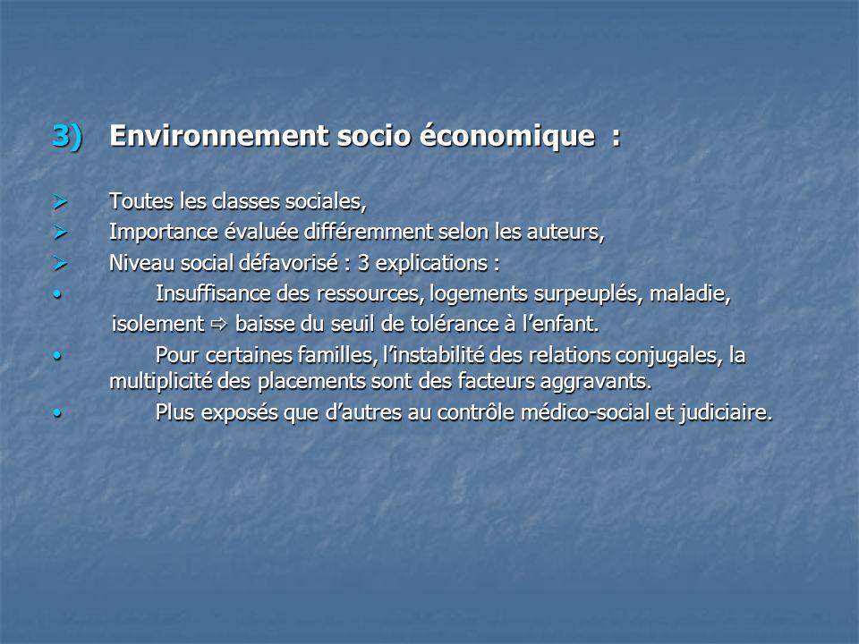 3)Environnement socio économique : Toutes les classes sociales, Toutes les classes sociales, Importance évaluée différemment selon les auteurs, Import