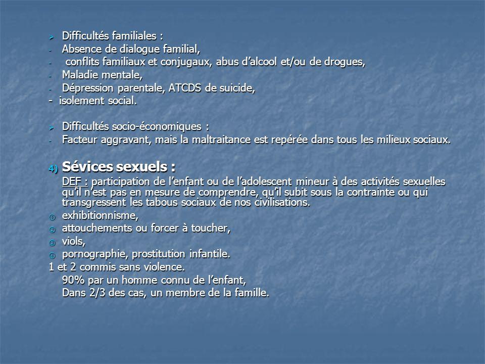 Difficultés familiales : Difficultés familiales : - Absence de dialogue familial, - conflits familiaux et conjugaux, abus dalcool et/ou de drogues, -