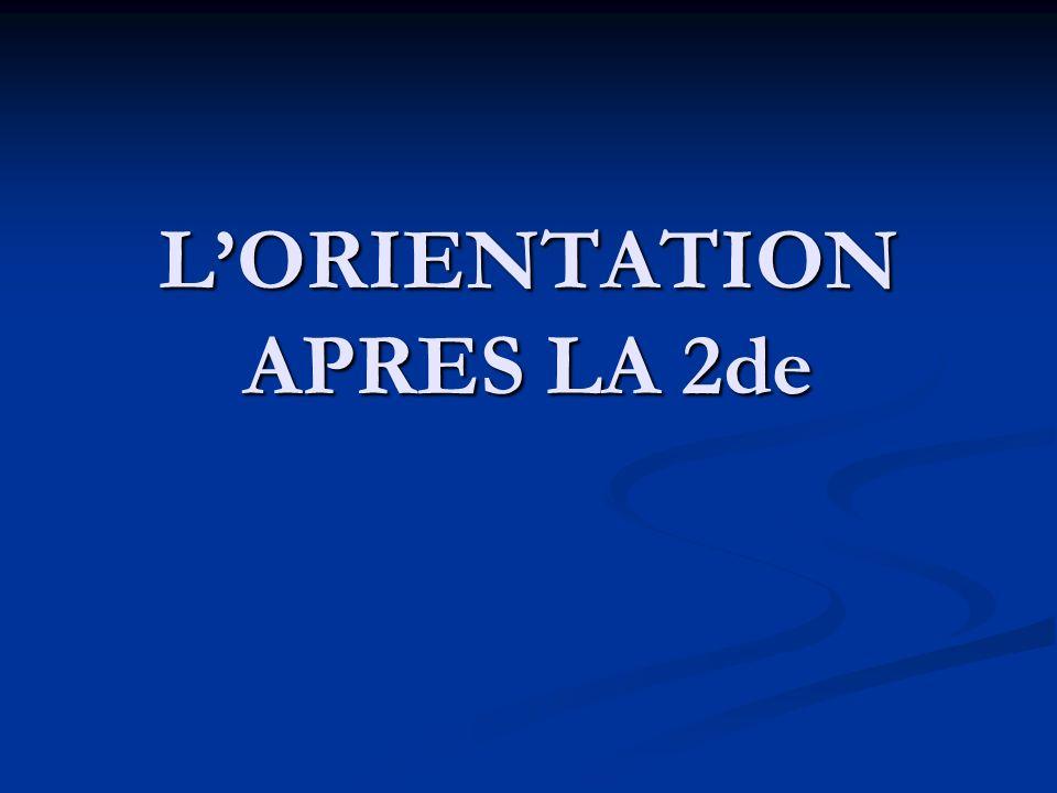 LORIENTATION APRES LA 2de
