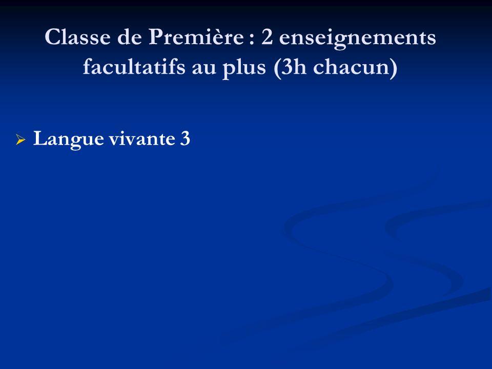 Classe de Première : 2 enseignements facultatifs au plus (3h chacun) Langue vivante 3