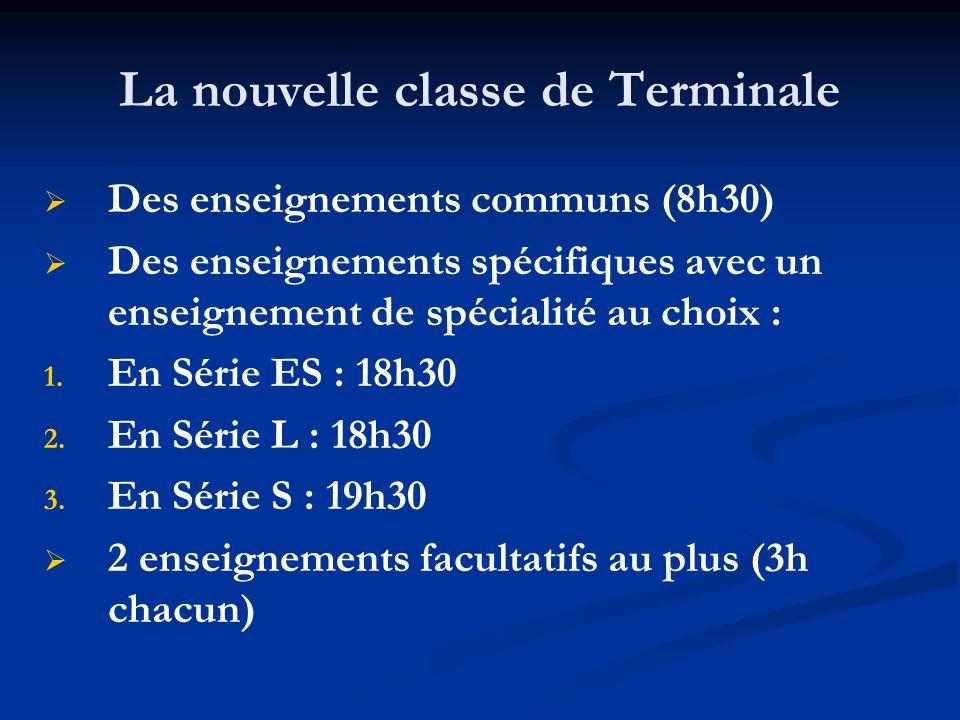 La nouvelle classe de Terminale Des enseignements communs (8h30) Des enseignements spécifiques avec un enseignement de spécialité au choix : 1.