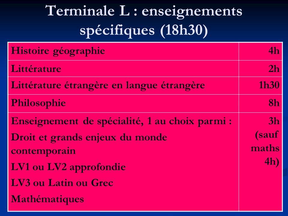 Terminale L : enseignements spécifiques (18h30) Histoire géographie4h Littérature2h Littérature étrangère en langue étrangère1h30 Philosophie8h Enseig