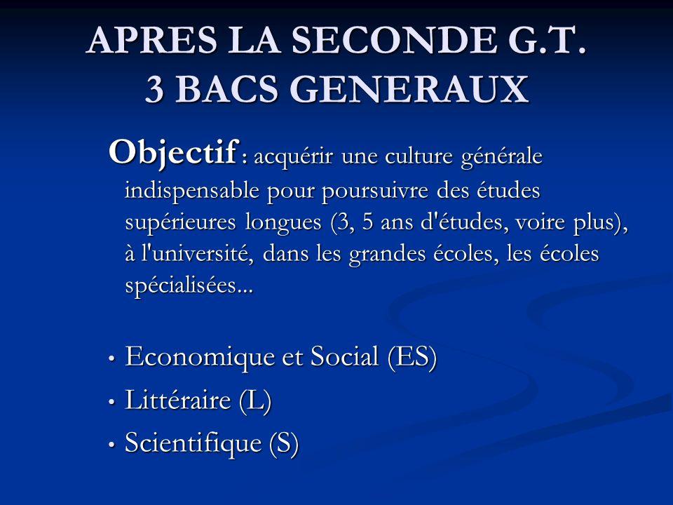 APRES LA SECONDE G.T. 3 BACS GENERAUX Objectif : acquérir une culture générale indispensable pour poursuivre des études supérieures longues (3, 5 ans
