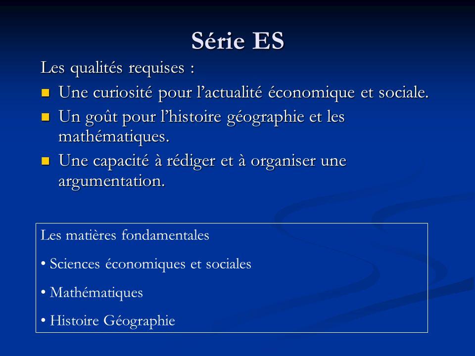 Série ES Les qualités requises : Une curiosité pour lactualité économique et sociale. Une curiosité pour lactualité économique et sociale. Un goût pou