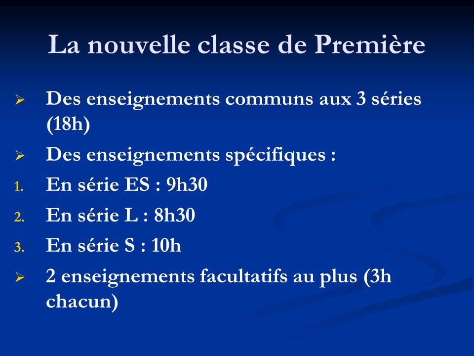 La nouvelle classe de Première Des enseignements communs aux 3 séries (18h) Des enseignements spécifiques : 1. 1. En série ES : 9h30 2. 2. En série L