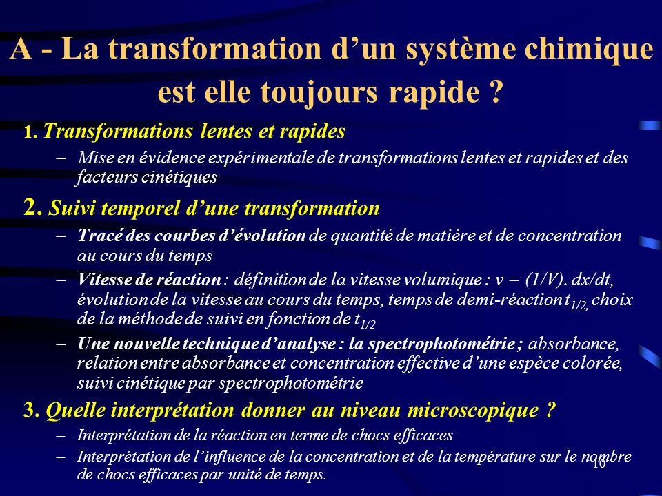 10 A - La transformation dun système chimique est elle toujours rapide ? 1. Transformations lentes et rapides –Mise en évidence expérimentale de trans