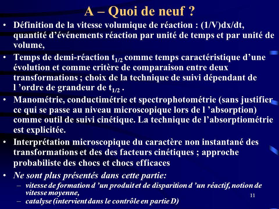 11 A – Quoi de neuf ? Définition de la vitesse volumique de réaction : (1/V)dx/dt, quantité dévénements réaction par unité de temps et par unité de vo