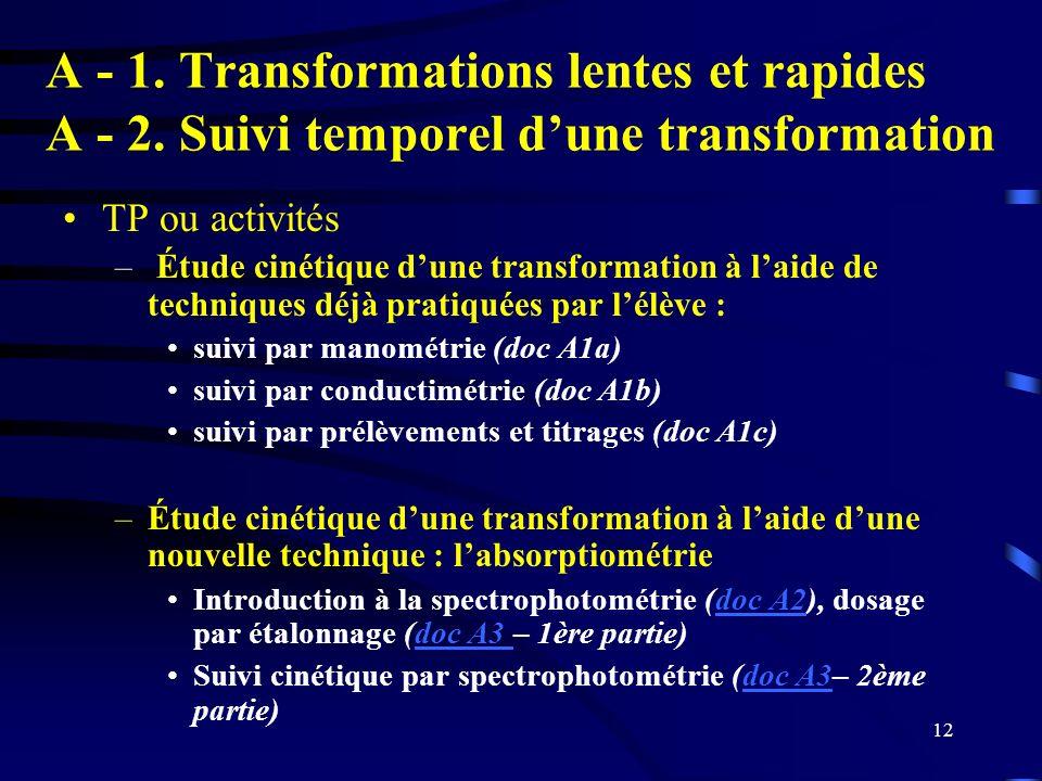 12 A - 1. Transformations lentes et rapides A - 2. Suivi temporel dune transformation TP ou activités – Étude cinétique dune transformation à laide de