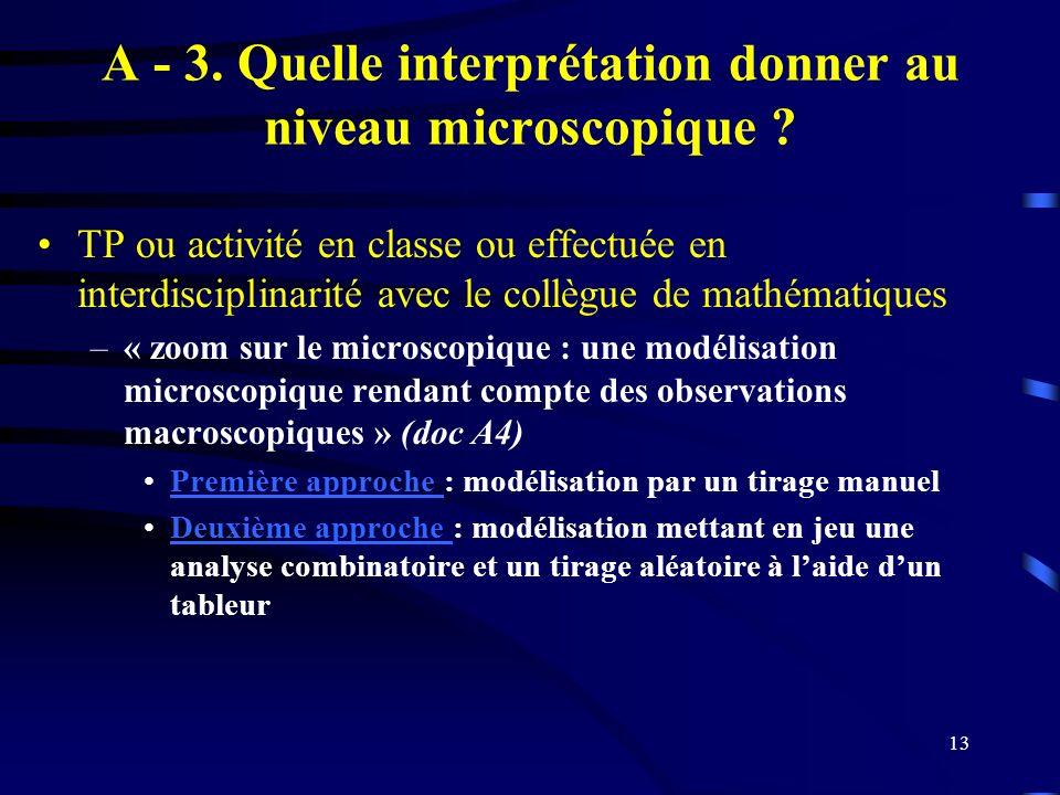 13 A - 3. Quelle interprétation donner au niveau microscopique ? TP ou activité en classe ou effectuée en interdisciplinarité avec le collègue de math