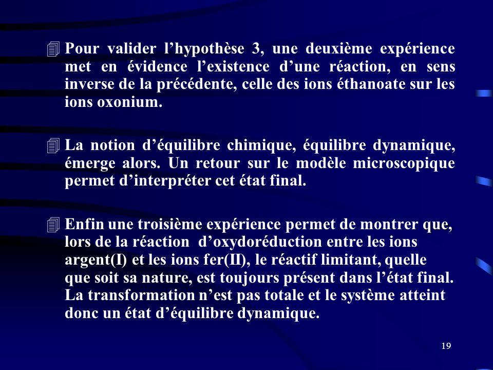 19 4Pour valider lhypothèse 3, une deuxième expérience met en évidence lexistence dune réaction, en sens inverse de la précédente, celle des ions étha