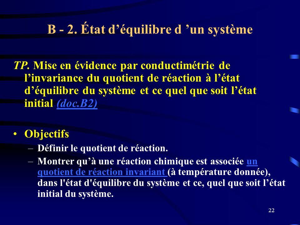 22 B - 2. État déquilibre d un système TP. Mise en évidence par conductimétrie de linvariance du quotient de réaction à létat déquilibre du système et