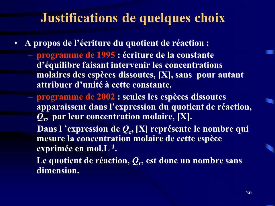 26 Justifications de quelques choix A propos de lécriture du quotient de réaction : –programme de 1995 : écriture de la constante déquilibre faisant i