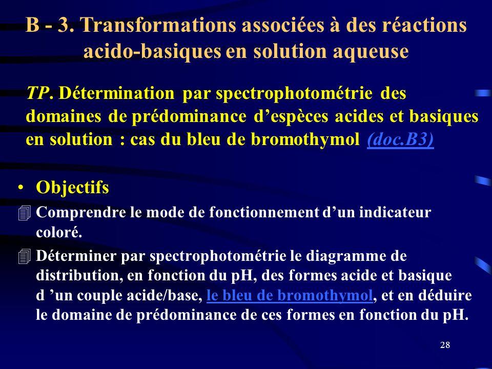 28 TP. Détermination par spectrophotométrie des domaines de prédominance despèces acides et basiques en solution : cas du bleu de bromothymol (doc.B3)