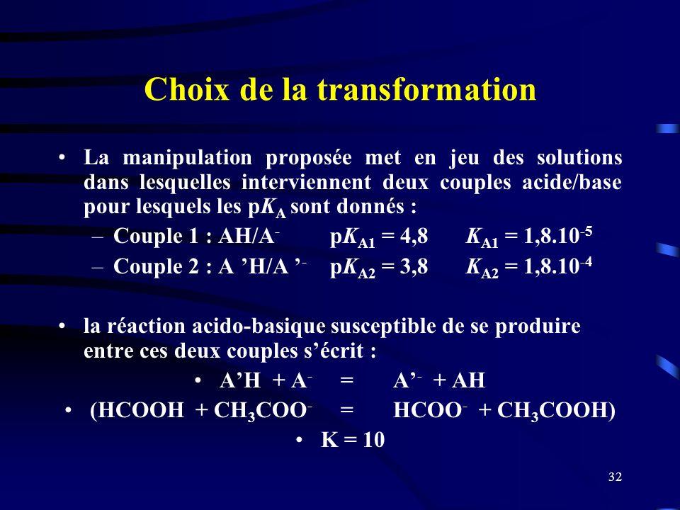 32 Choix de la transformation La manipulation proposée met en jeu des solutions dans lesquelles interviennent deux couples acide/base pour lesquels le