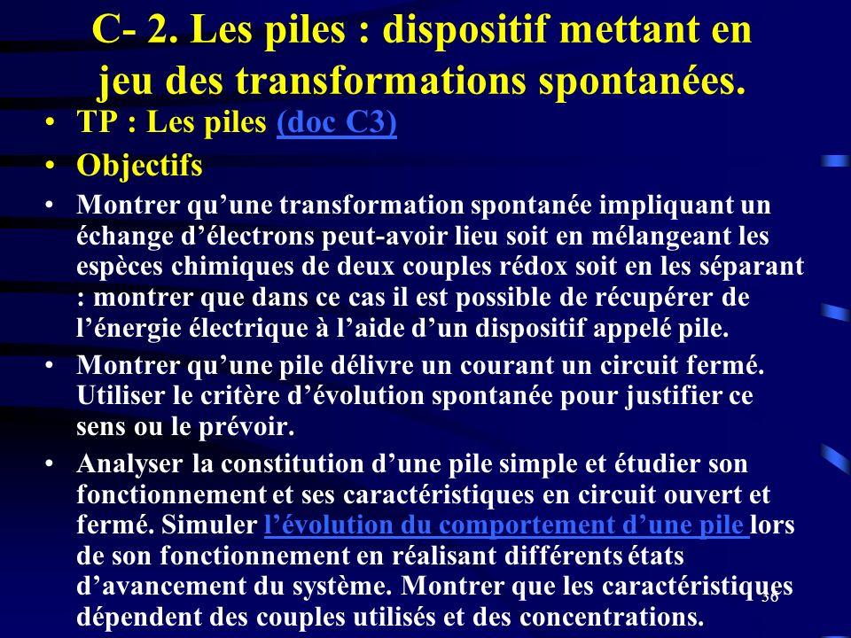 36 C- 2. Les piles : dispositif mettant en jeu des transformations spontanées. TP : Les piles (doc C3)(doc C3) Objectifs Montrer quune transformation