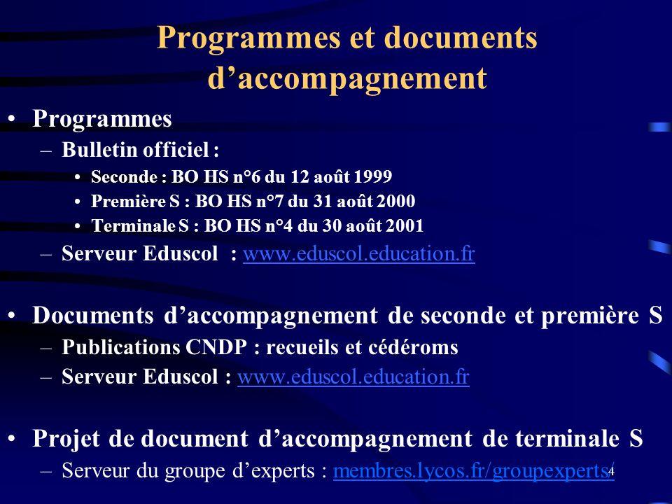 4 Programmes et documents daccompagnement Programmes –Bulletin officiel : Seconde : BO HS n°6 du 12 août 1999 Première S : BO HS n°7 du 31 août 2000 T