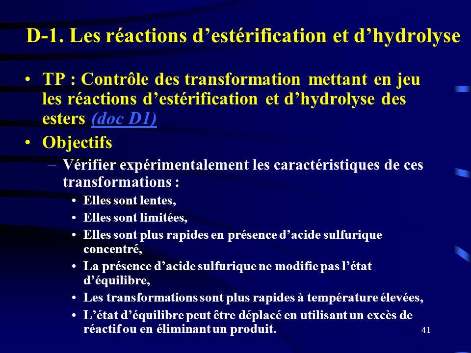 41 D-1. Les réactions destérification et dhydrolyse TP : Contrôle des transformation mettant en jeu les réactions destérification et dhydrolyse des es