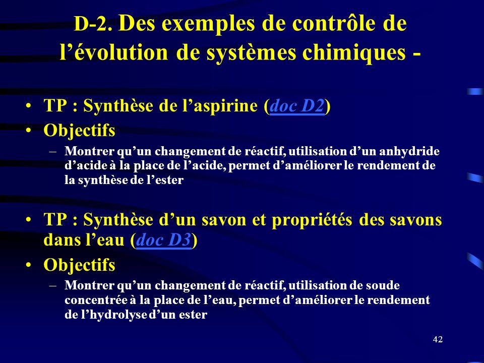 42 D-2. Des exemples de contrôle de lévolution de systèmes chimiques - TP : Synthèse de laspirine (doc D2)doc D2 Objectifs –Montrer quun changement de