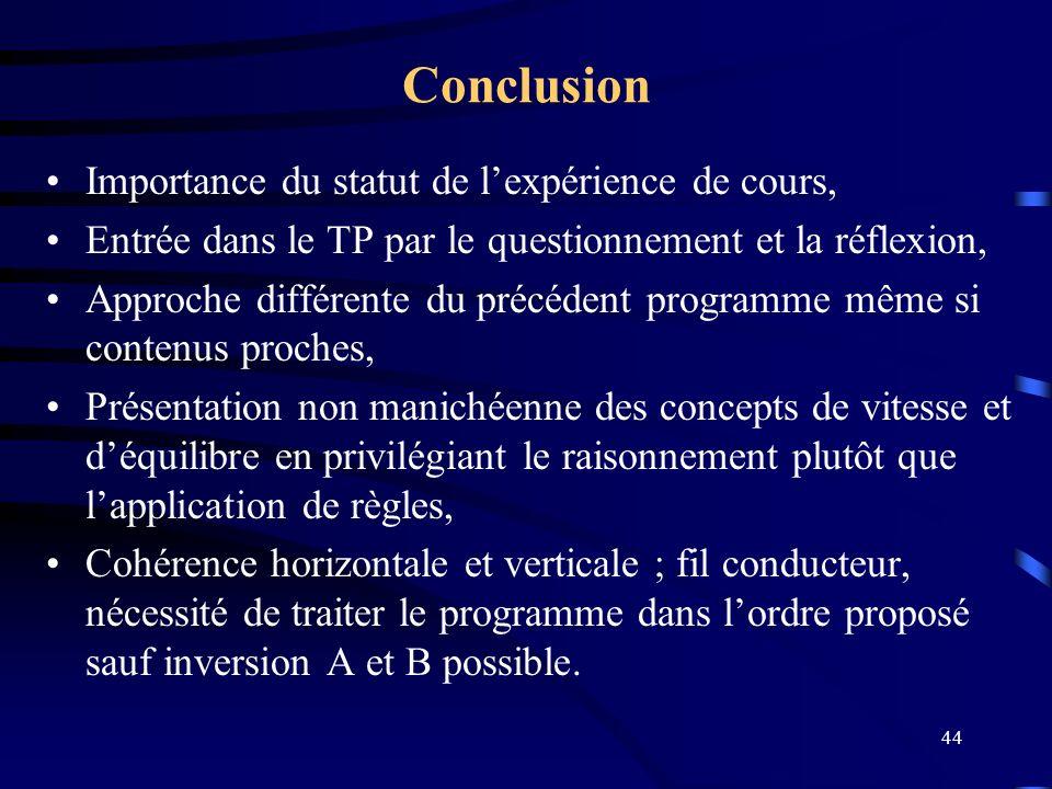 44 Conclusion Importance du statut de lexpérience de cours, Entrée dans le TP par le questionnement et la réflexion, Approche différente du précédent
