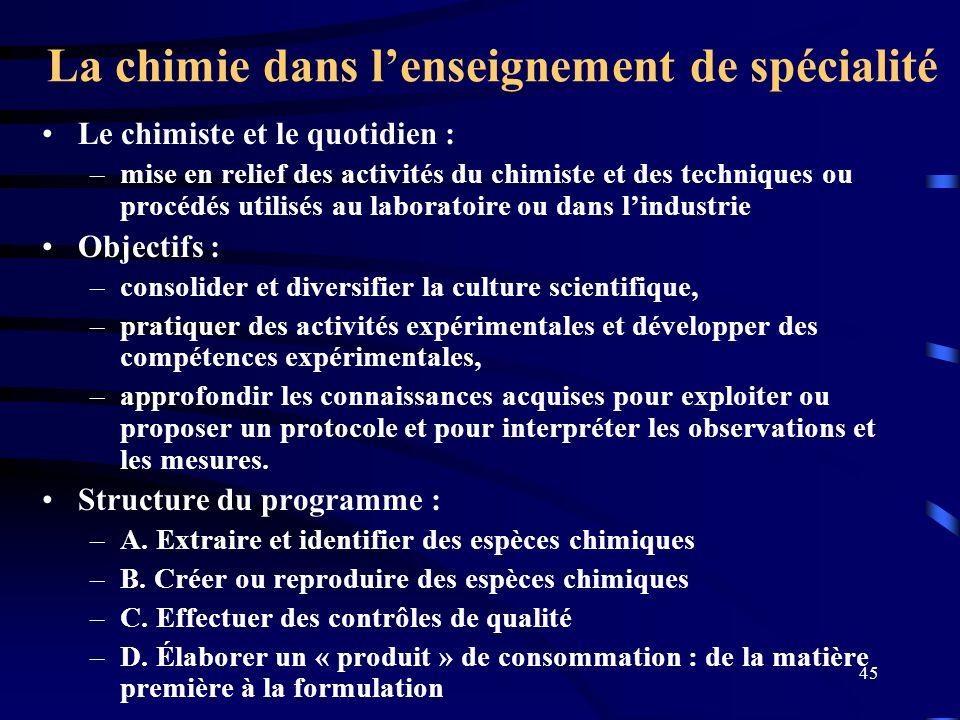 45 La chimie dans lenseignement de spécialité Le chimiste et le quotidien : –mise en relief des activités du chimiste et des techniques ou procédés ut
