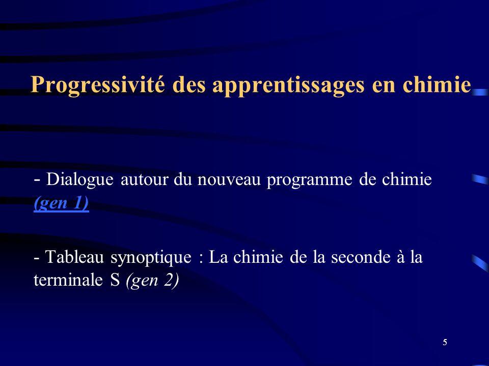 5 Progressivité des apprentissages en chimie - Dialogue autour du nouveau programme de chimie (gen 1) (gen 1) - Tableau synoptique : La chimie de la s