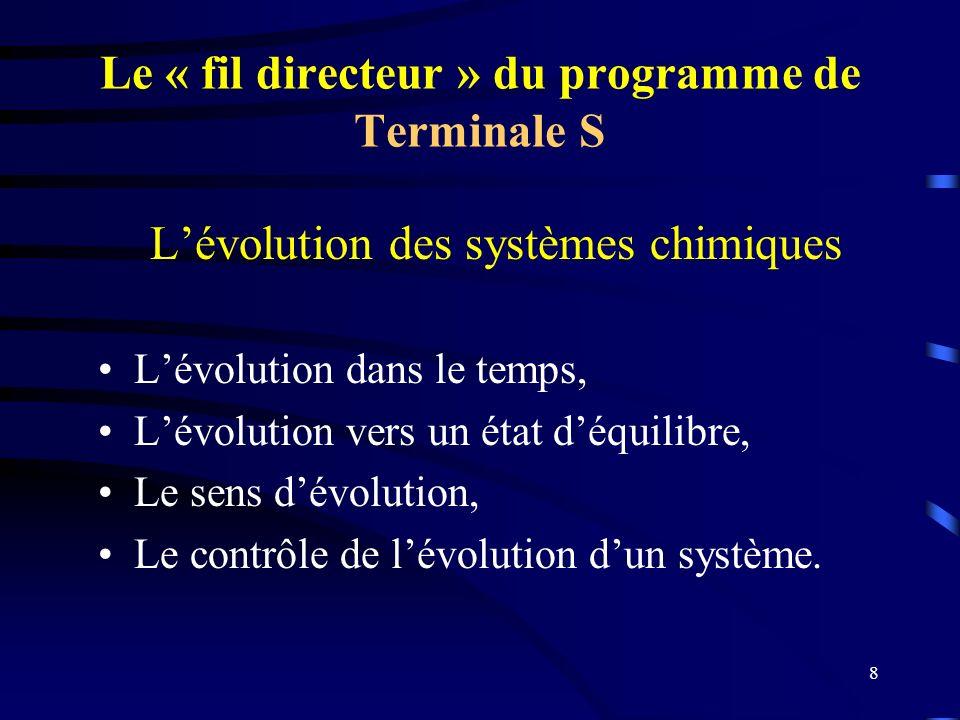 8 Le « fil directeur » du programme de Terminale S Lévolution des systèmes chimiques Lévolution dans le temps, Lévolution vers un état déquilibre, Le