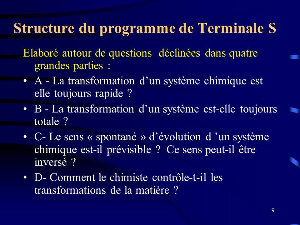 9 Structure du programme de Terminale S Elaboré autour de questions déclinées dans quatre grandes parties : A - La transformation dun système chimique
