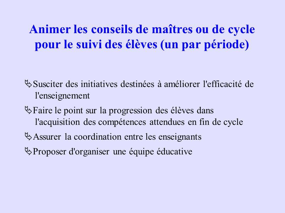 Animer les conseils de maîtres ou de cycle pour le suivi des élèves (un par période) Susciter des initiatives destinées à améliorer l'efficacité de l'