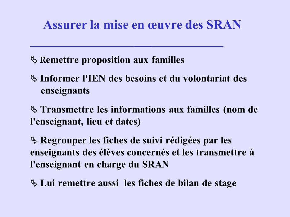 Assurer la mise en œuvre des SRAN ________________ ___ ___________ R emettre proposition aux familles Informer l'IEN des besoins et du volontariat des