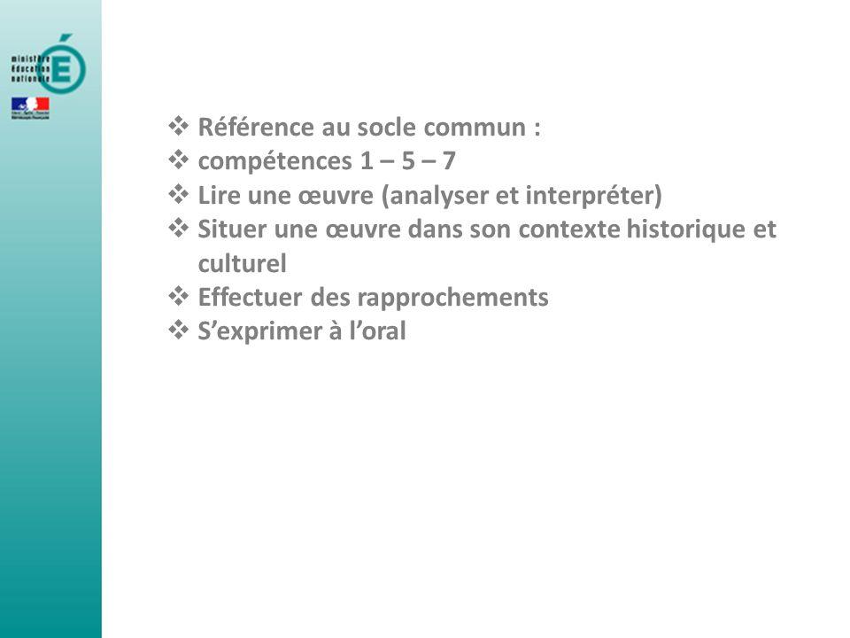 Référence au socle commun : compétences 1 – 5 – 7 Lire une œuvre (analyser et interpréter) Situer une œuvre dans son contexte historique et culturel E