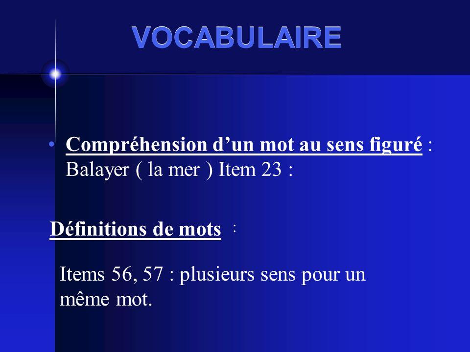 VOCABULAIRE Compréhension dun mot au sens figuré : Balayer ( la mer ) Item 23 : Définitions de mots Items 56, 57 : plusieurs sens pour un même mot.