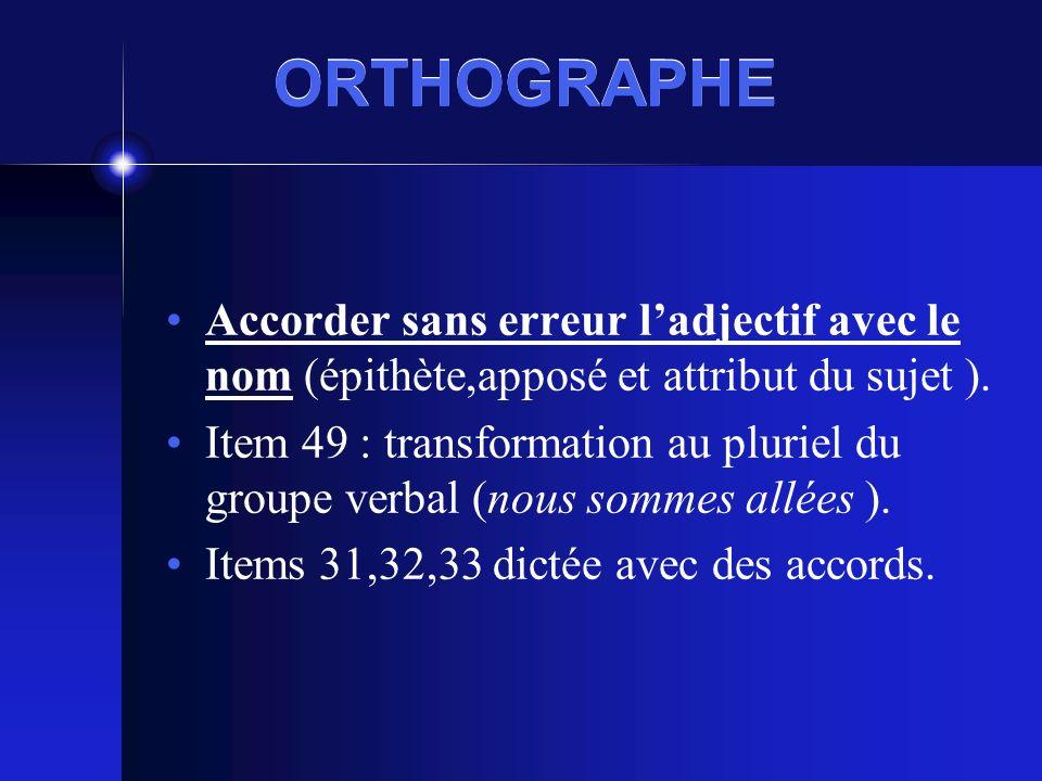 ORTHOGRAPHE Accorder sans erreur ladjectif avec le nom (épithète,apposé et attribut du sujet ).