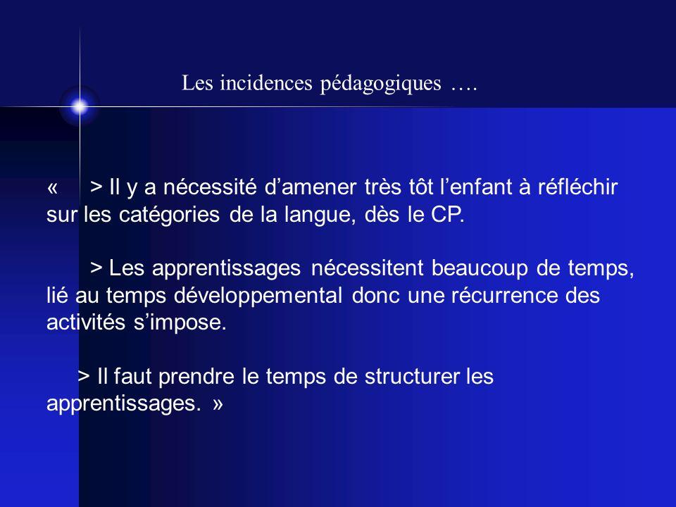 « > Il y a nécessité damener très tôt lenfant à réfléchir sur les catégories de la langue, dès le CP.