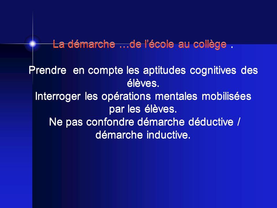 La démarche …de lécole au collège. Prendre en compte les aptitudes cognitives des élèves.