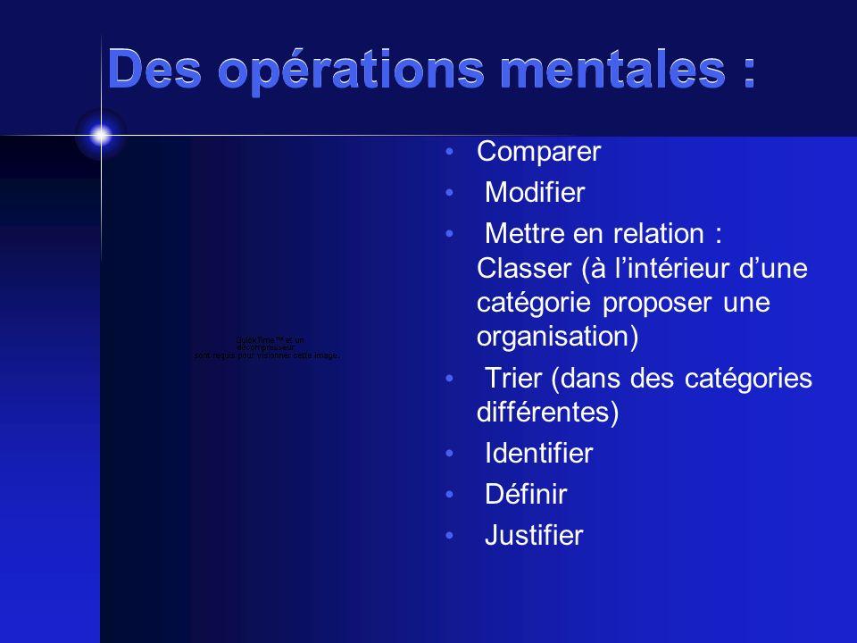 Des opérations mentales : Comparer Modifier Mettre en relation : Classer (à lintérieur dune catégorie proposer une organisation) Trier (dans des catégories différentes) Identifier Définir Justifier